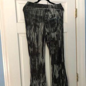 Gray/silver velvet flare pants